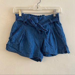 Hot Kiss Medium Wash Chambray High Waisted Shorts